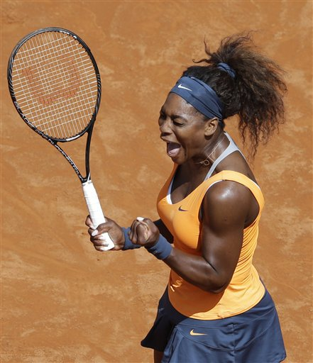 Serena Williams, of the United States, celebrates after winning her final match against Belarus' Victoria Azarenka at the Italian Open tennis tournament in Rome, Sunday, May 19, 2013. Serena Williams won her fourth consecutive title of the year in dominating fashion Sunday, beating third-seeded Victoria Azarenka 6-1, 6-3 in the Italian Open final