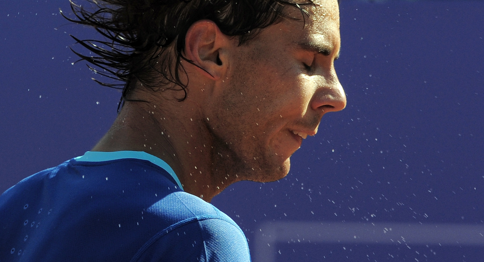 Rafael Nadal reacts after his victory over Albert Ramos during the Barcelona open tennis in Barcelona, Spain, Wednesday, April 23, 2014