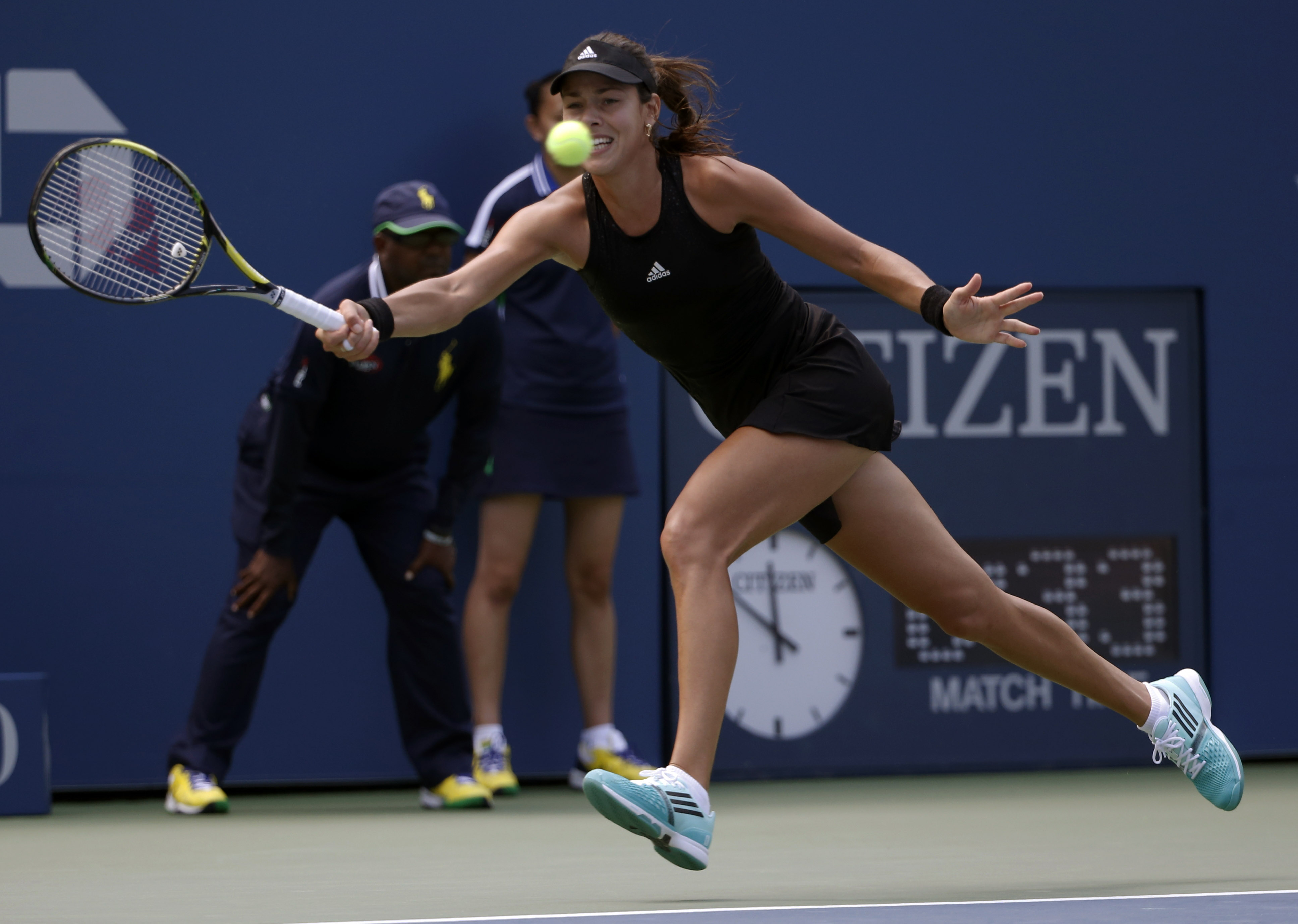 Ana Ivanovic, of Serbia, returns a shot against Alison Riske, of the United States, during the opening round of the 2014 U.S. Open tennis tournament, Tuesday, Aug. 26, 2014, in New York