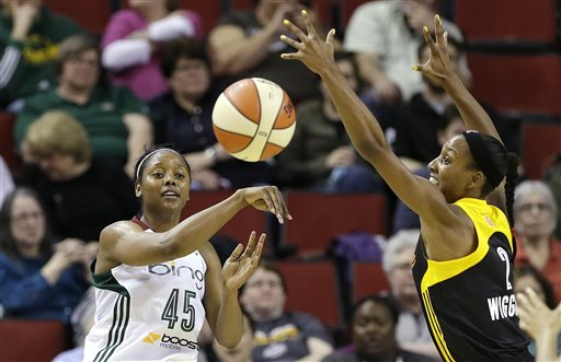 Seattle Storm's Noelle Quinn (45) gets a pass off in front of Tulsa Shock's Candice Wiggins in the first half of a preseason WNBA basketball game Friday, May 17, 2013, in Seattle