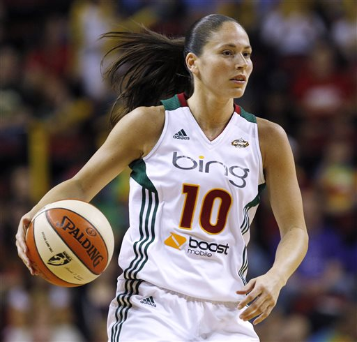 In this July 11, 2012, file photo, Seattle Storm's Sue Bird dribbles against the Atlanta Dream in a WNBA basketball game  in Seattle. Because of injuries and national team commitments, the Storm became used to Lauren Jackson being absent at times for the last few seasons. But even when Jackson was gone, Bird was almost always there. That won't be the case in 2013 with both Bird and Jackson sidelined for the season recovering surgeries that leave the Storm with major questions