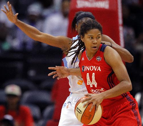 Washington Mystics guard Tierra Ruffin-Pratt (44) is defended by Atlanta Dream guard Tiffany Hayes in Game 1 of aWNBA basketball Eastern Conference semifinals series,Thursday, Sept. 19, 2013, in Atlanta