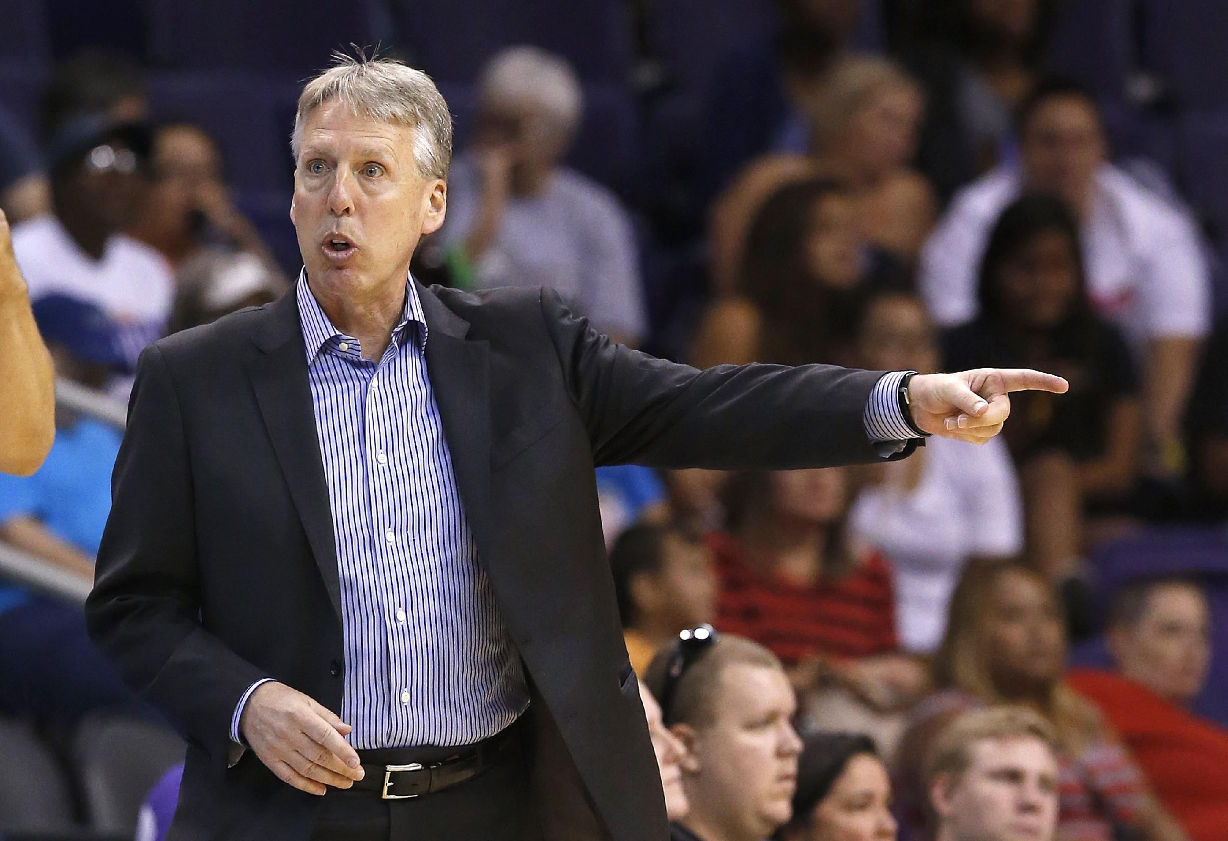 Seattle Storm head coach Brian Agler argues with officials during the second half of a WNBA basketball game against the Phoenix Mercury on Tuesday, June 3, 2014, in Phoenix. The Mercury defeated the Storm 87-72