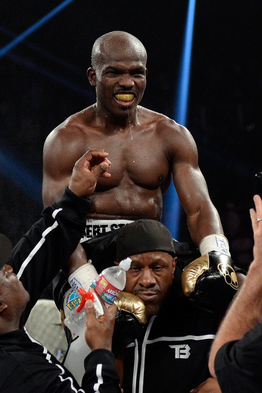 Timothy Bradley celebrates his controversial win over Manny Pacquiao. (Getty Images)