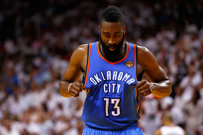 James Harden turned down a $54 million contract offer from the Thunder. (Getty Images)