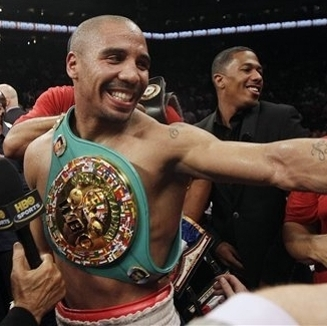 Andre Ward celebrates after beating Chad Dawson in a super middleweight title fight in Sept. (Getty)