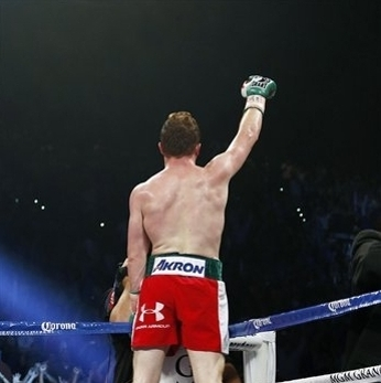 Canelo Alvarez celebrates defeating Josesito Lopez. (AP Photo/Isaac Brekken)