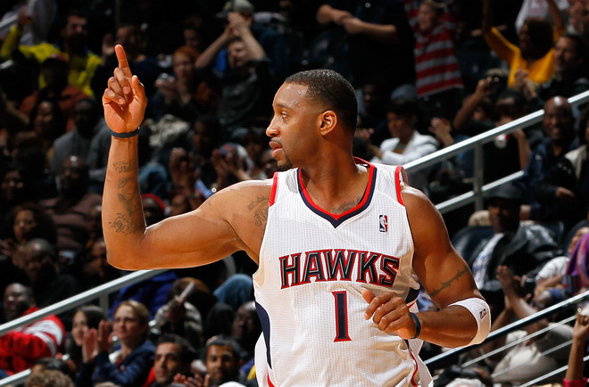 Tracy McGrady averaged 5.3 points and 16 minutes a game last season with the Hawks. (Getty Images)
