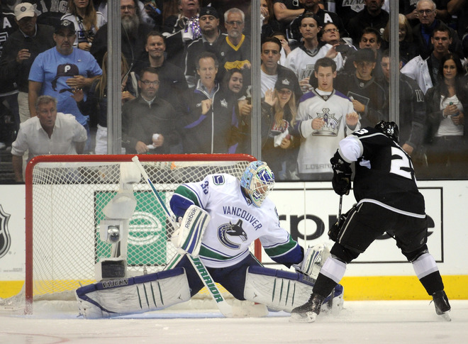 Cory Schneider stops Dustin Brown on a penalty shot (Getty Images)