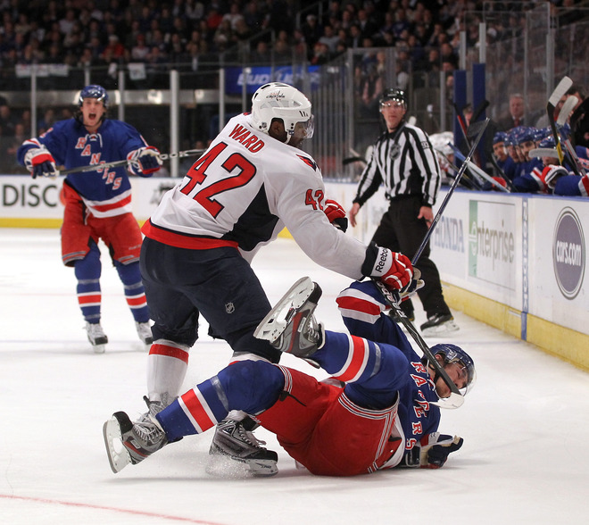 Joel Ward's on-the-edge style betrayed him late in Game 5 against the Rangers. (Getty)