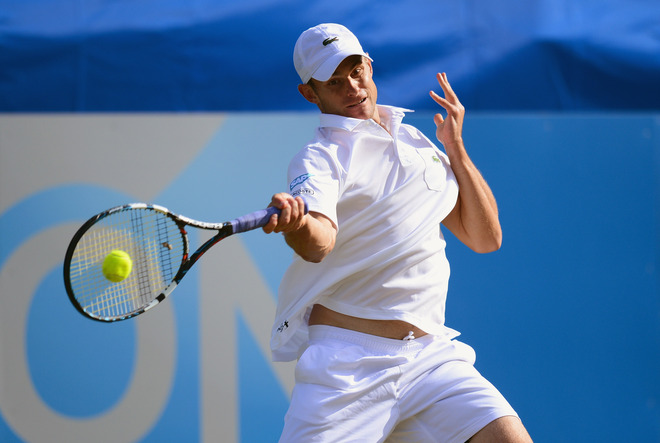 Andy Roddick Of USA In Action Against Steve Darcis Of Belgium In The Semi Final Of The AEGON International At Getty Images