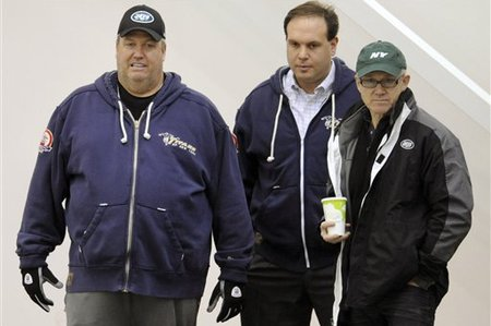 Coach Rex Ryan (L) with GM Mike Tannenbaum (C) and owner Woody Johnson.