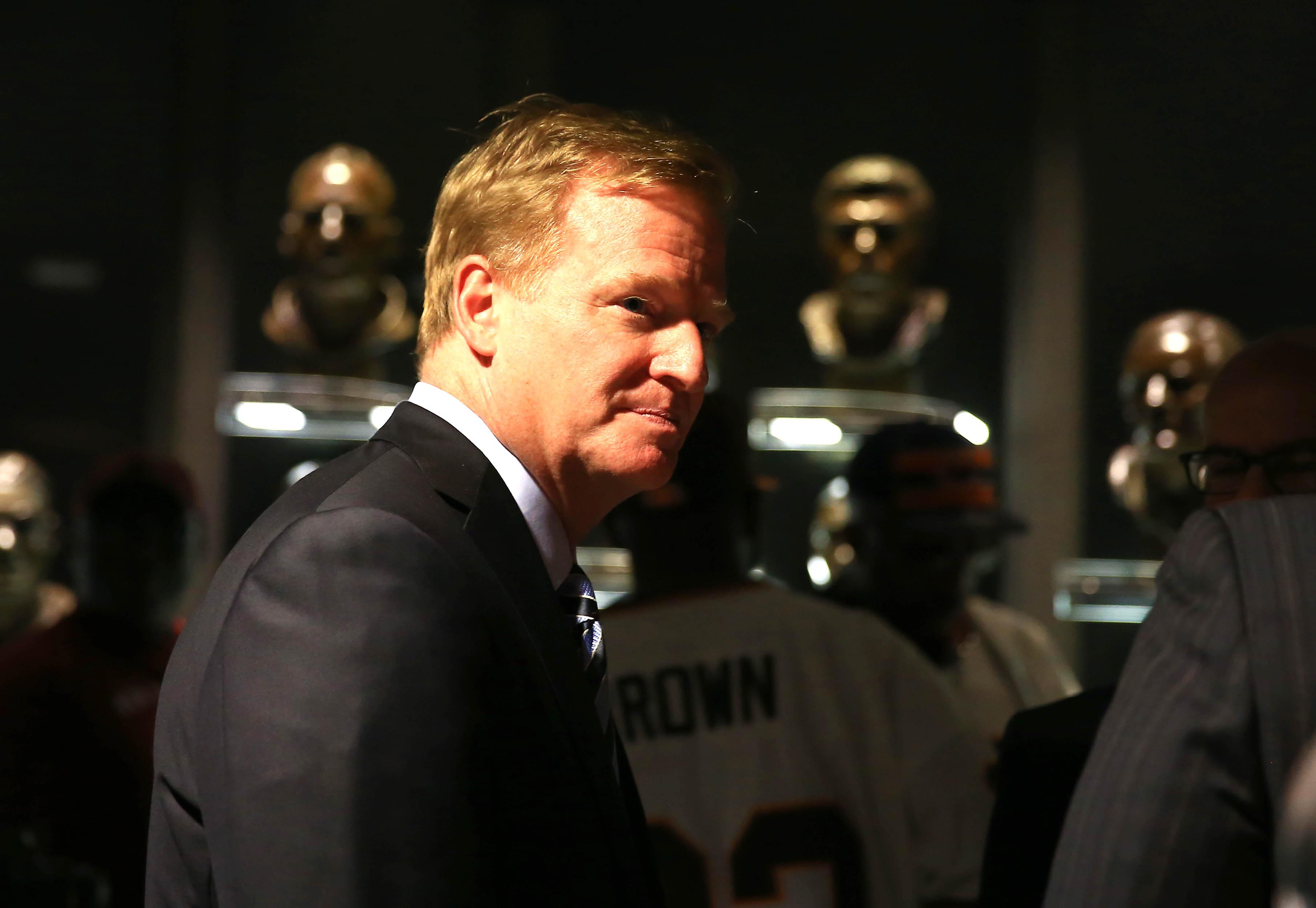 Aug 2, 2013; Canton, OH, USA; NFL commissioner Roger Goodell reportedly met with ESPN officials last week. (USAT Sports)