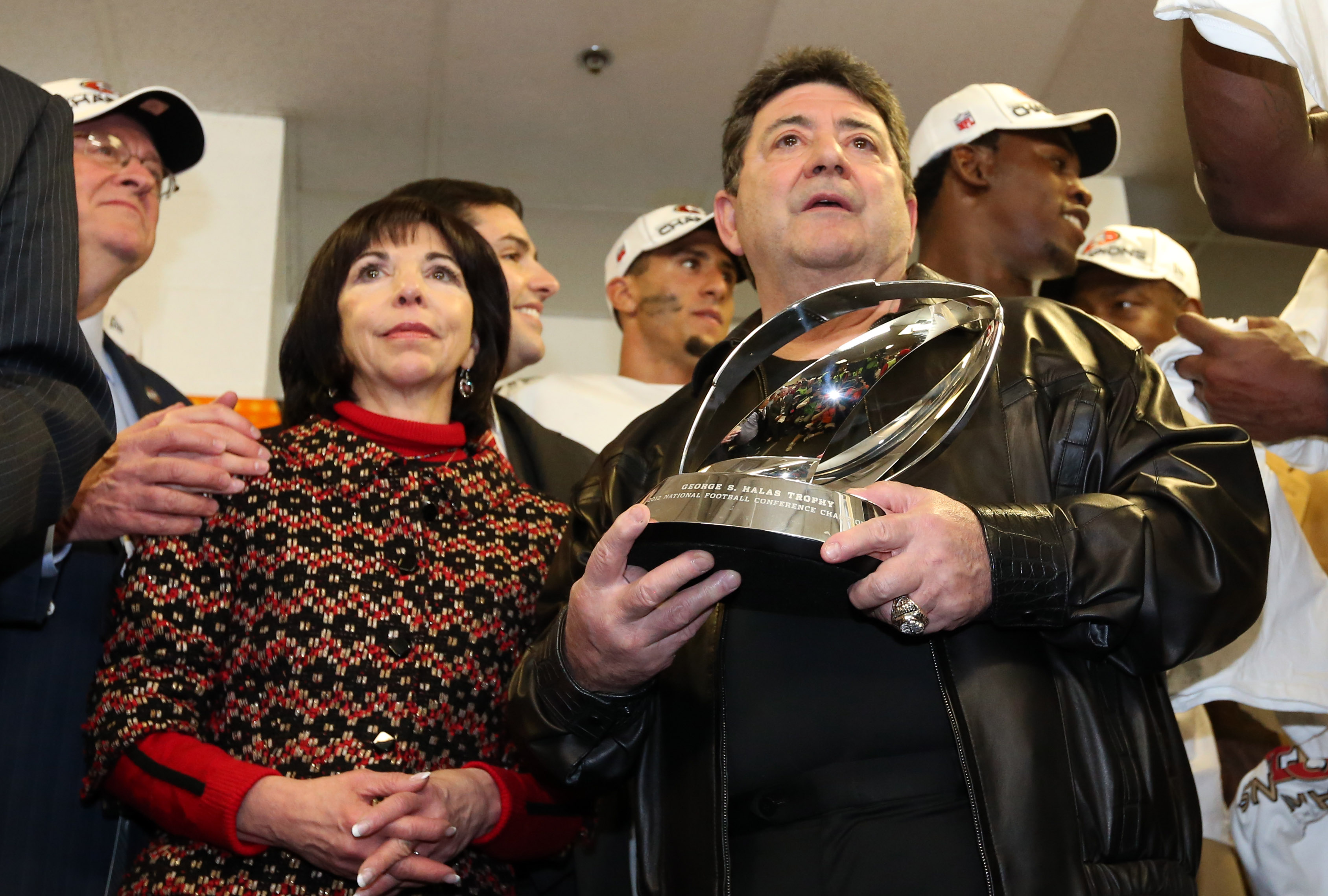 Eddie DeBartolo Jr. enjoys victory with his sister, Denise DeBartolo York, last month. (USA Today)