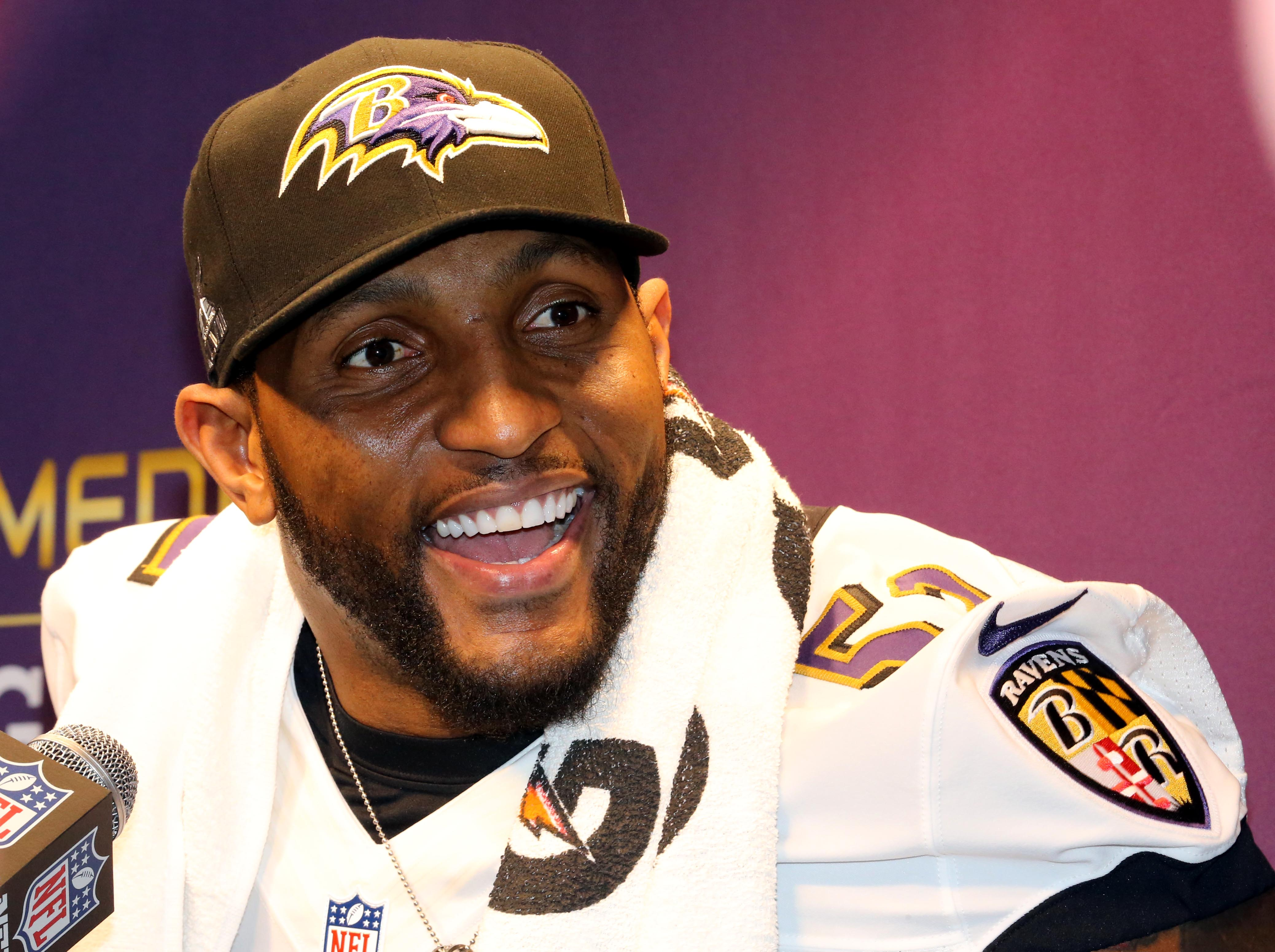 Ray Lewis answers a question during media day. (USA Today Sports)