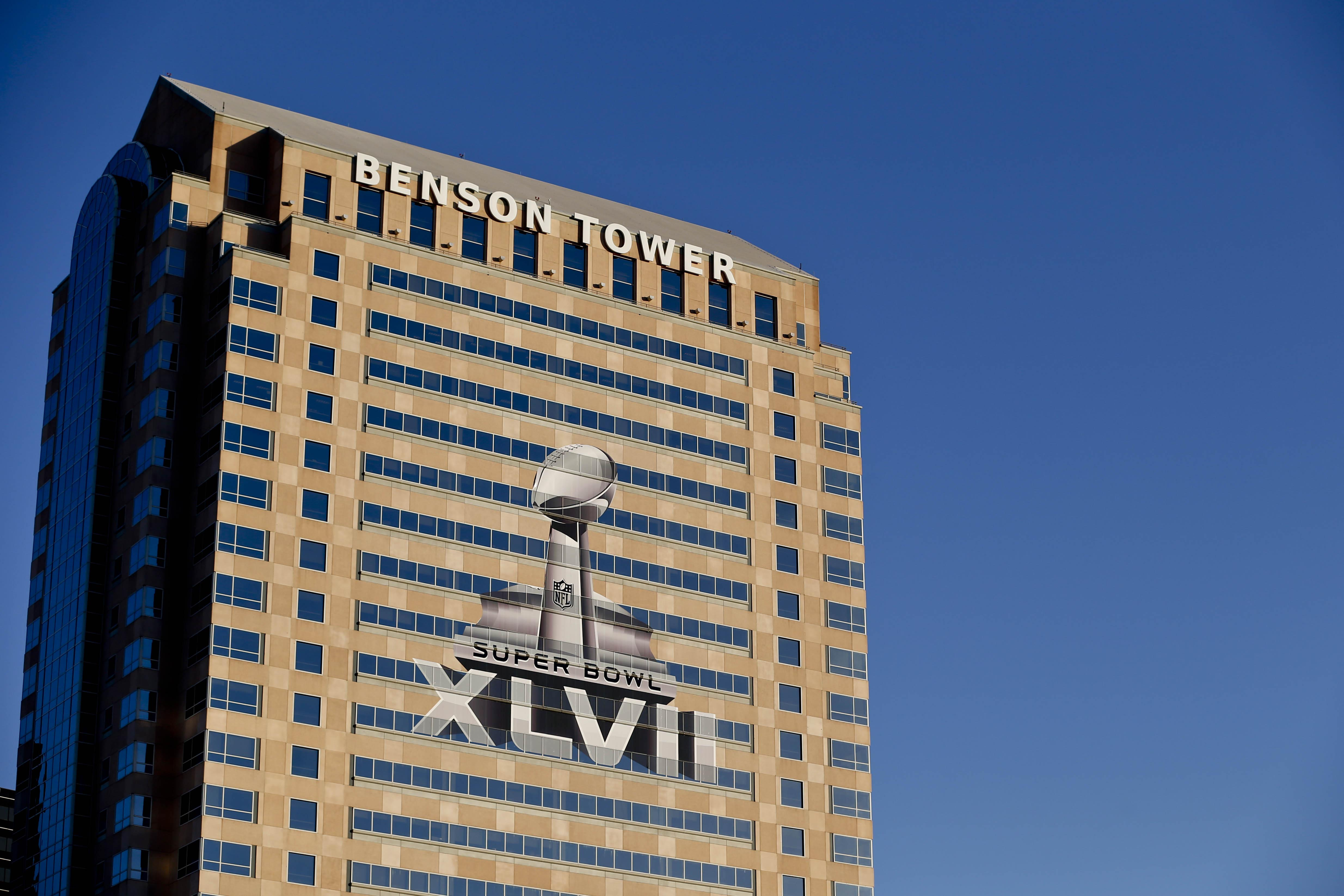 A view of the Benson Tower in New Orleans with a Super Bowl XLVII logo. (USA Today Sports)