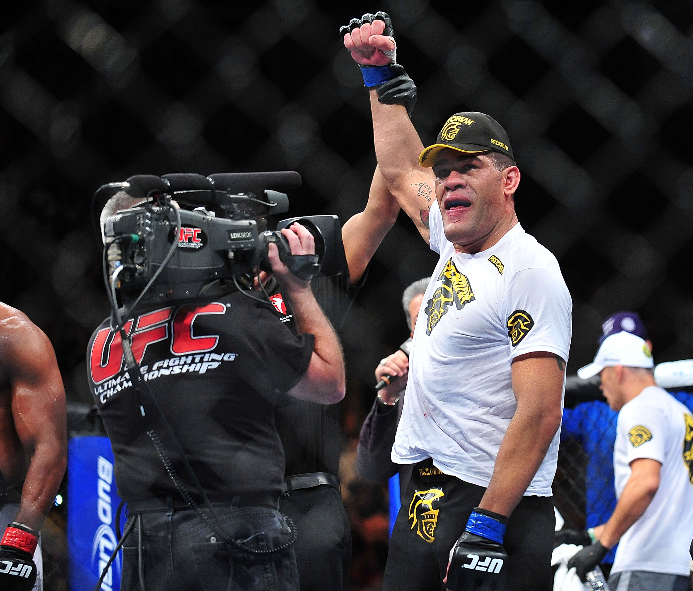 Antonio Silva celebrates after his win over Alistair Overeem at UFC 156. (USA Today)