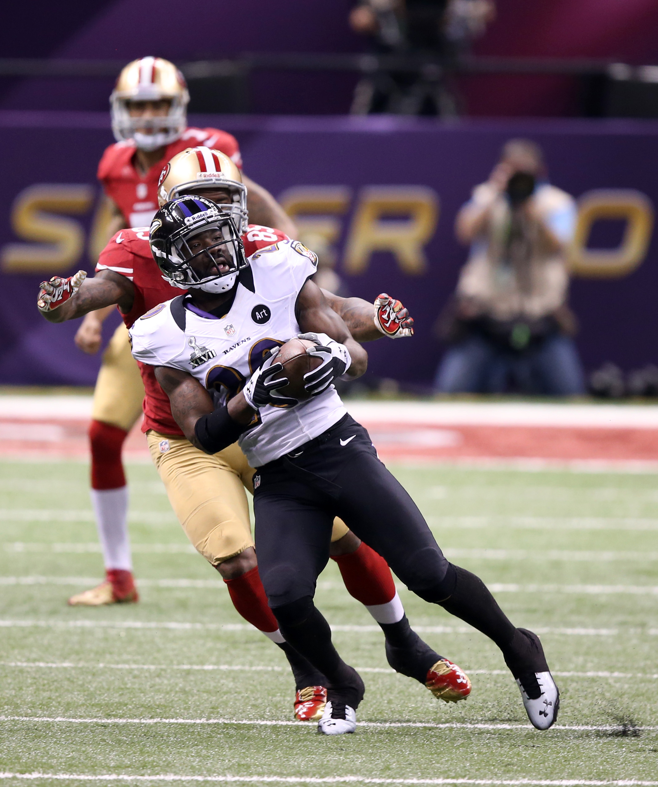 Former Raven Ed Reed had an interception in the Super Bowl vs. the 49ers. (USA TODAY Sports)