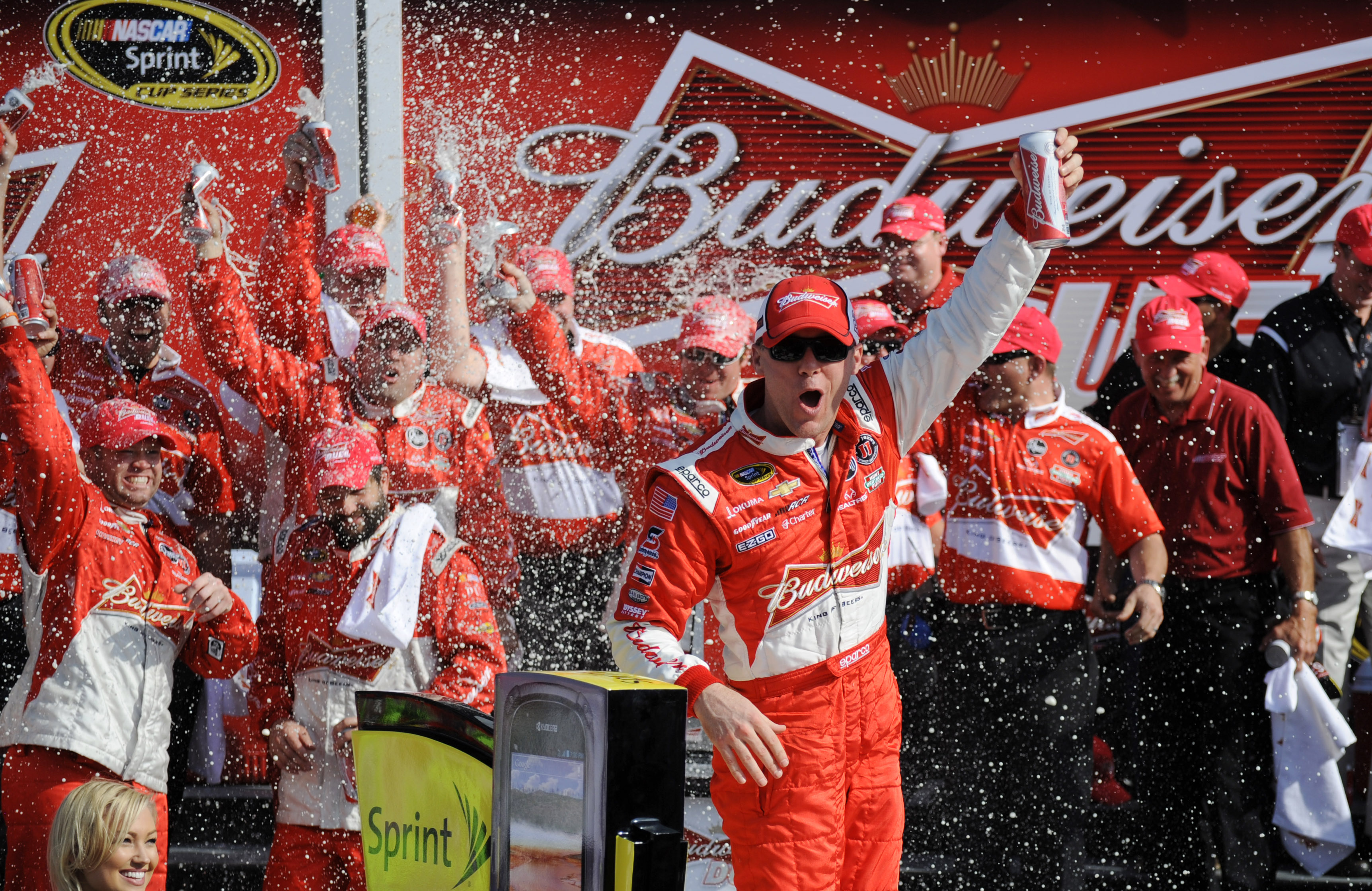 Kevin Harvick celebrates in victory lane after winning the first Budweiser Duel. (USA TODAY Sports)