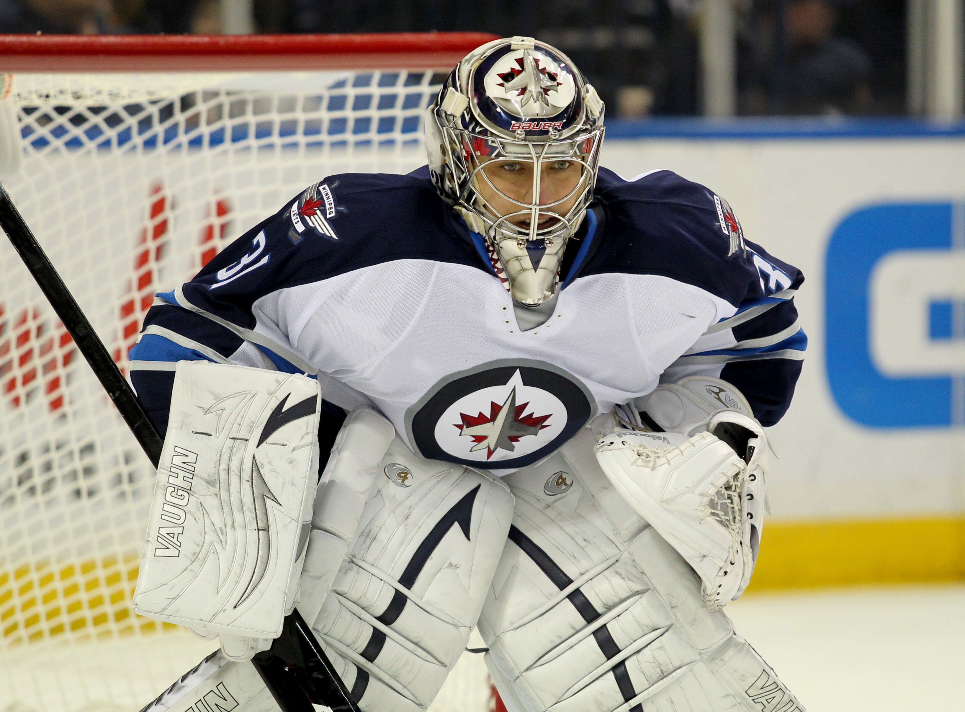The Jets' Ondrej Pavelec had the best stats among Southeast goalies, but that's not saying much. (USA Today)