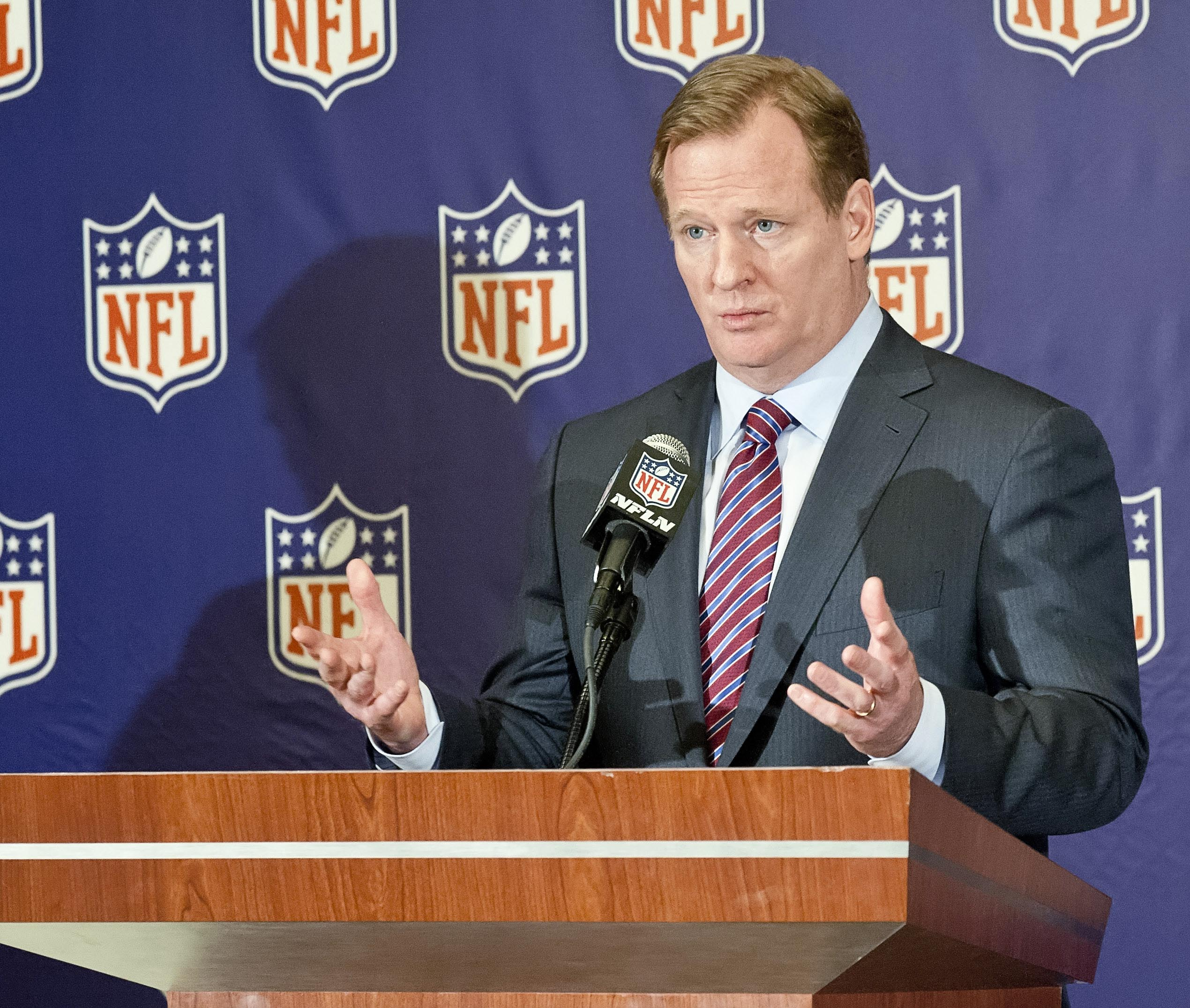 Roger Goodell speaks during the annual NFL meetings at the Arizona Biltmore on Monday. (USA TODAY Sports)