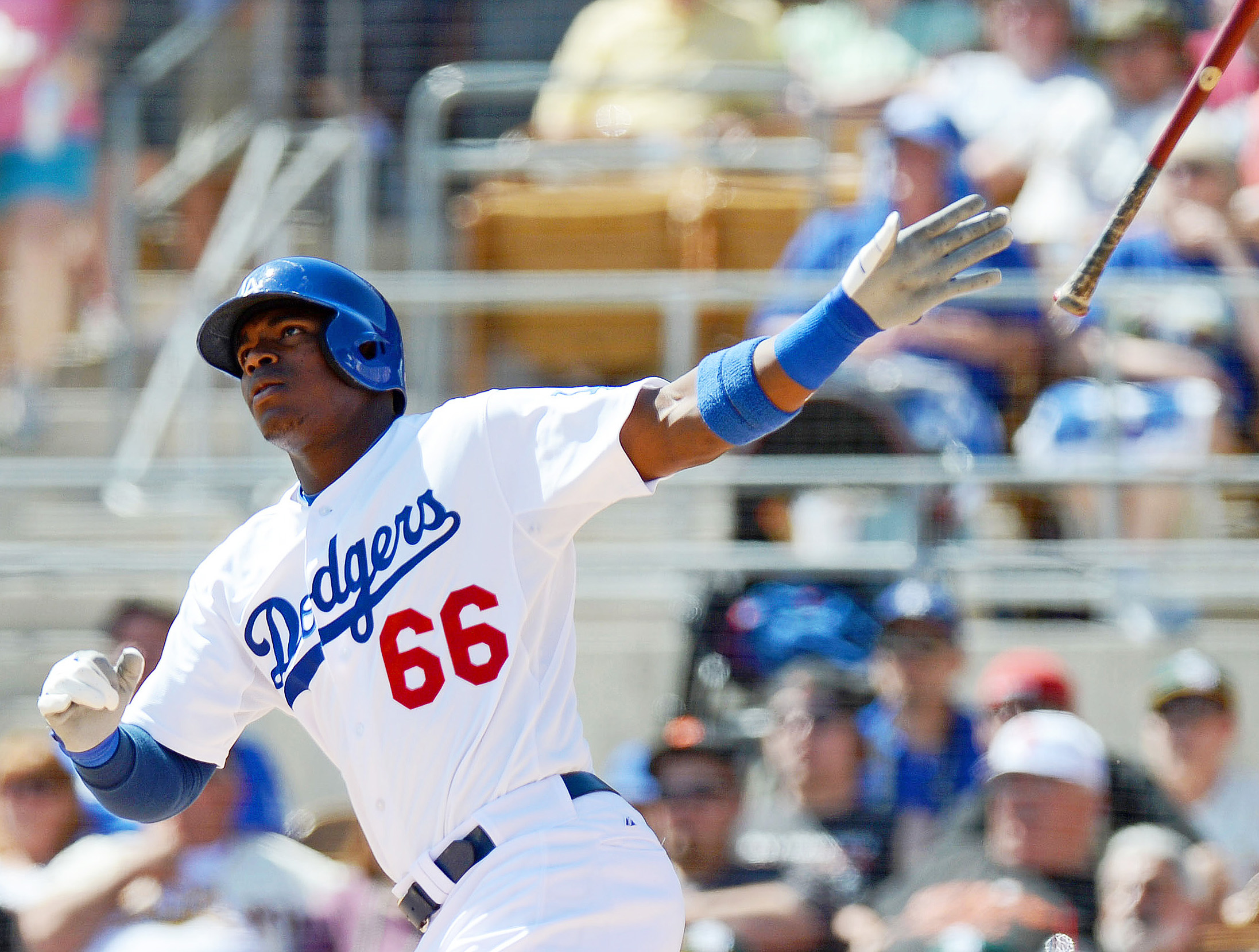 Yasiel Puig has hit .521 in spring training for the Dodgers. (USA Today Sports)
