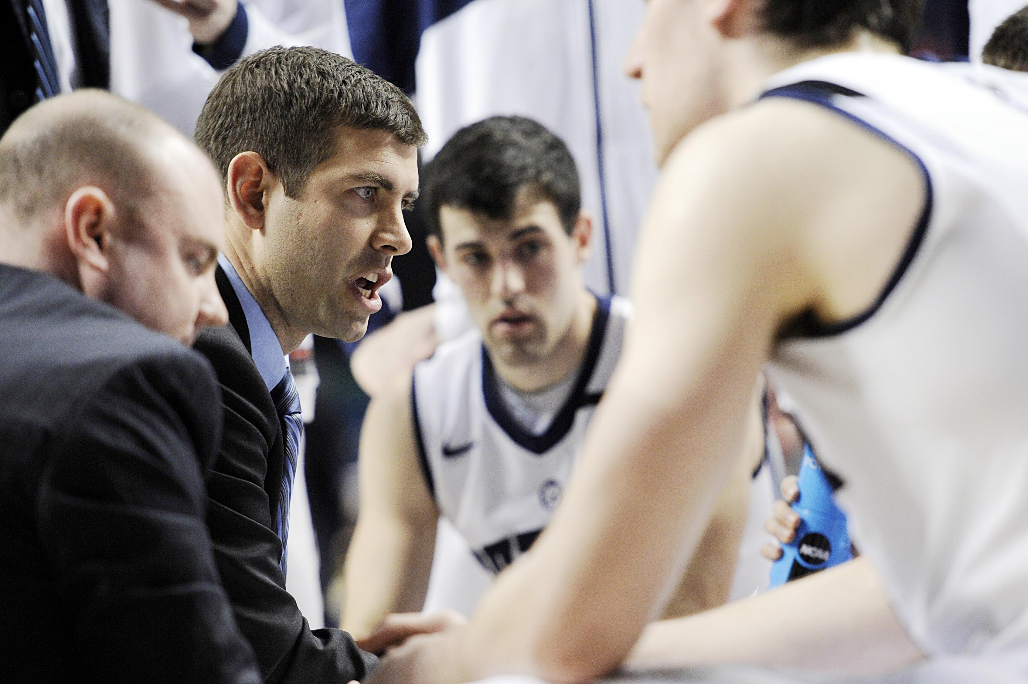 Coach Brad Stevens talks with his team in the first half against Bucknell on Thursday. (USA TODAY Sports)