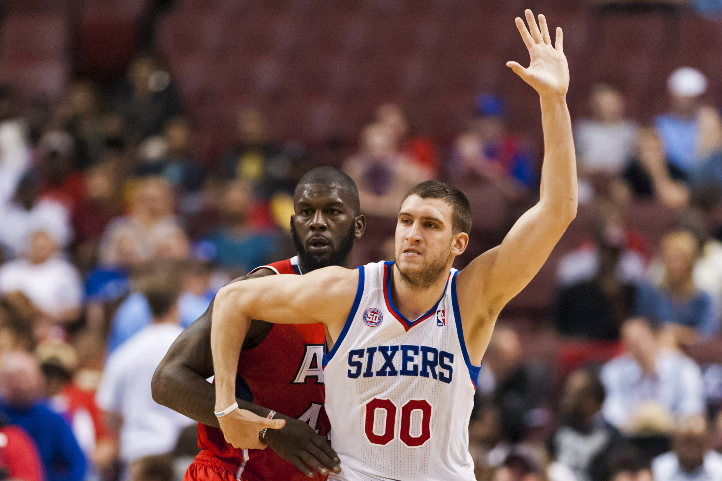 Sixers center Spencer Hawes was fined $15,000 for playing in a alumni game. (USA Today Sports)