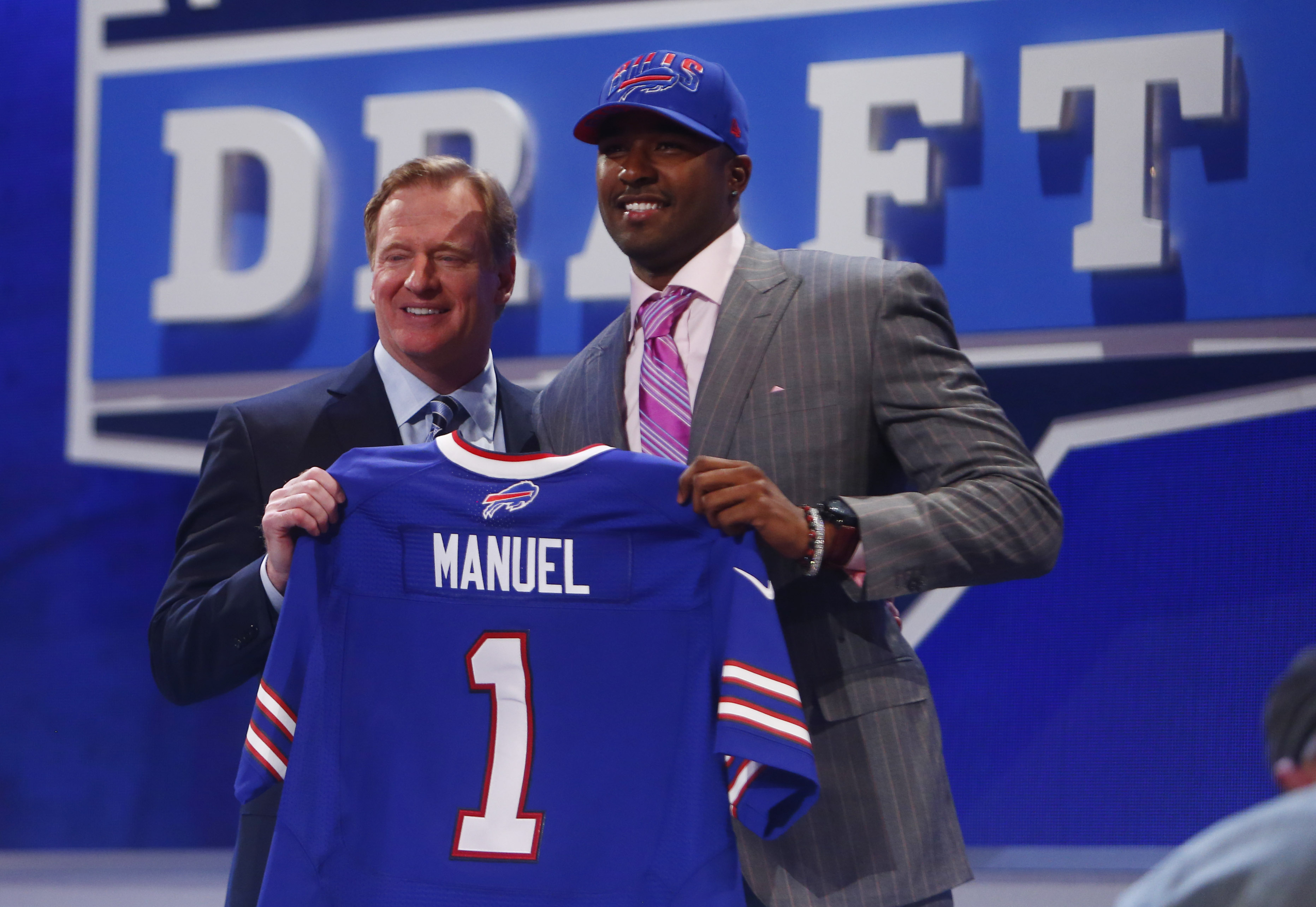 NFL commissioner Roger Goodell introduces E.J. Manuel. (USA TODAY Sports)