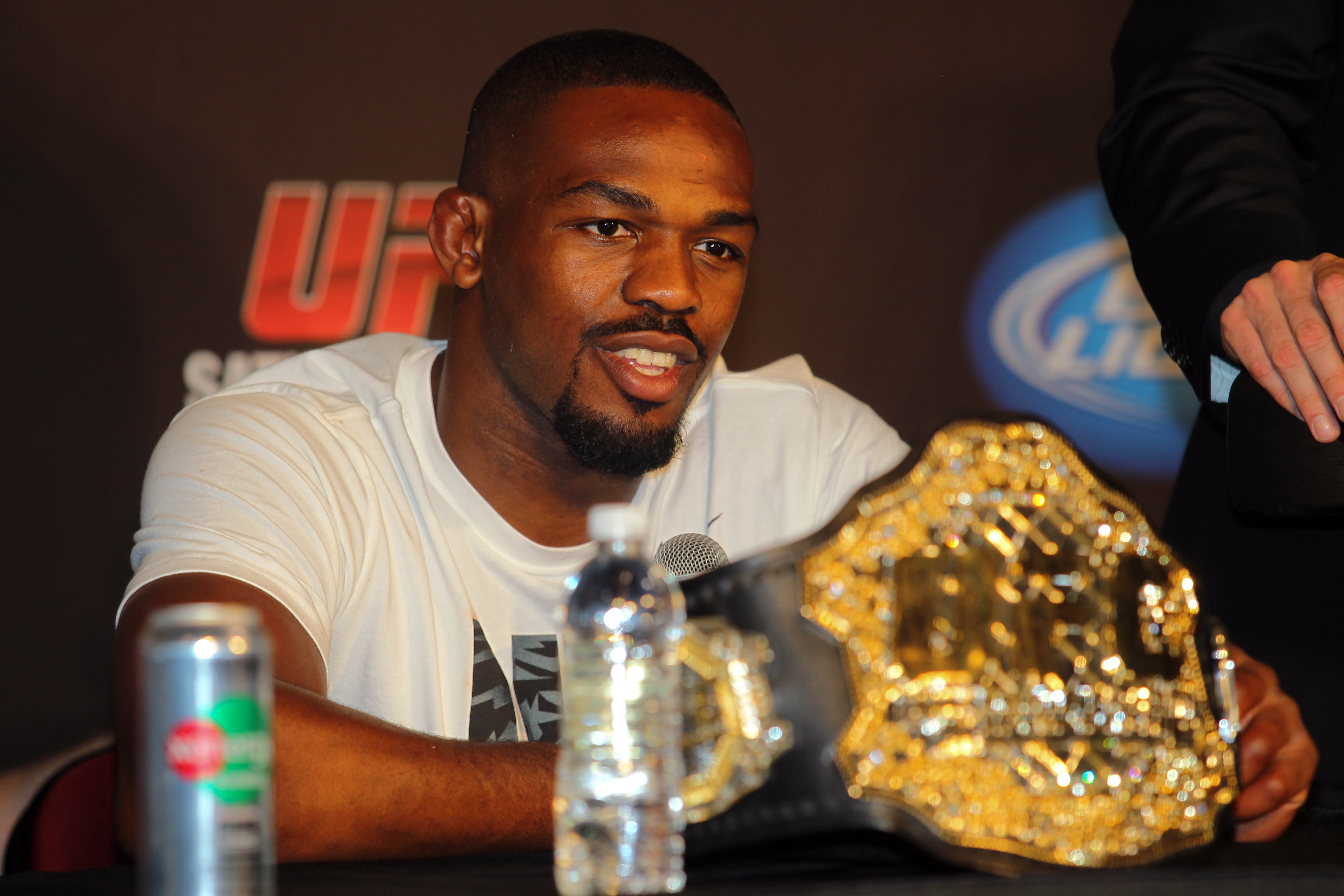 Jon Jones attends a press conference after UFC 159. (USA Today Sports)