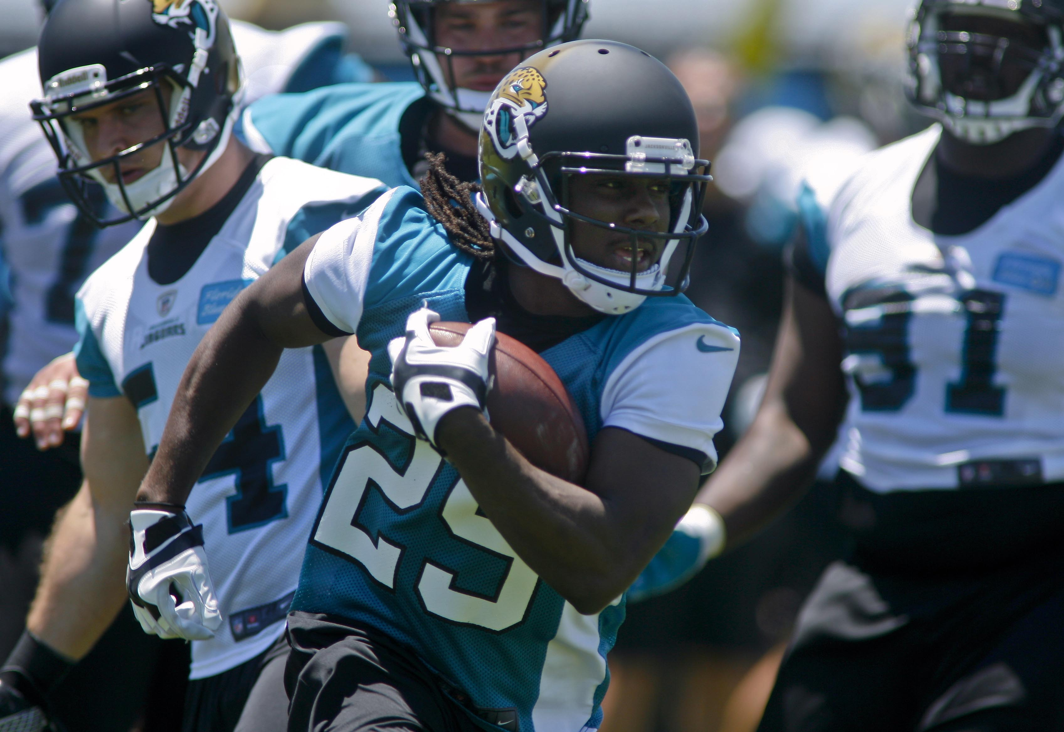 Denard Robinson (29) is adapting to life in the NFL as a running back and receiver. (USAT Sports)