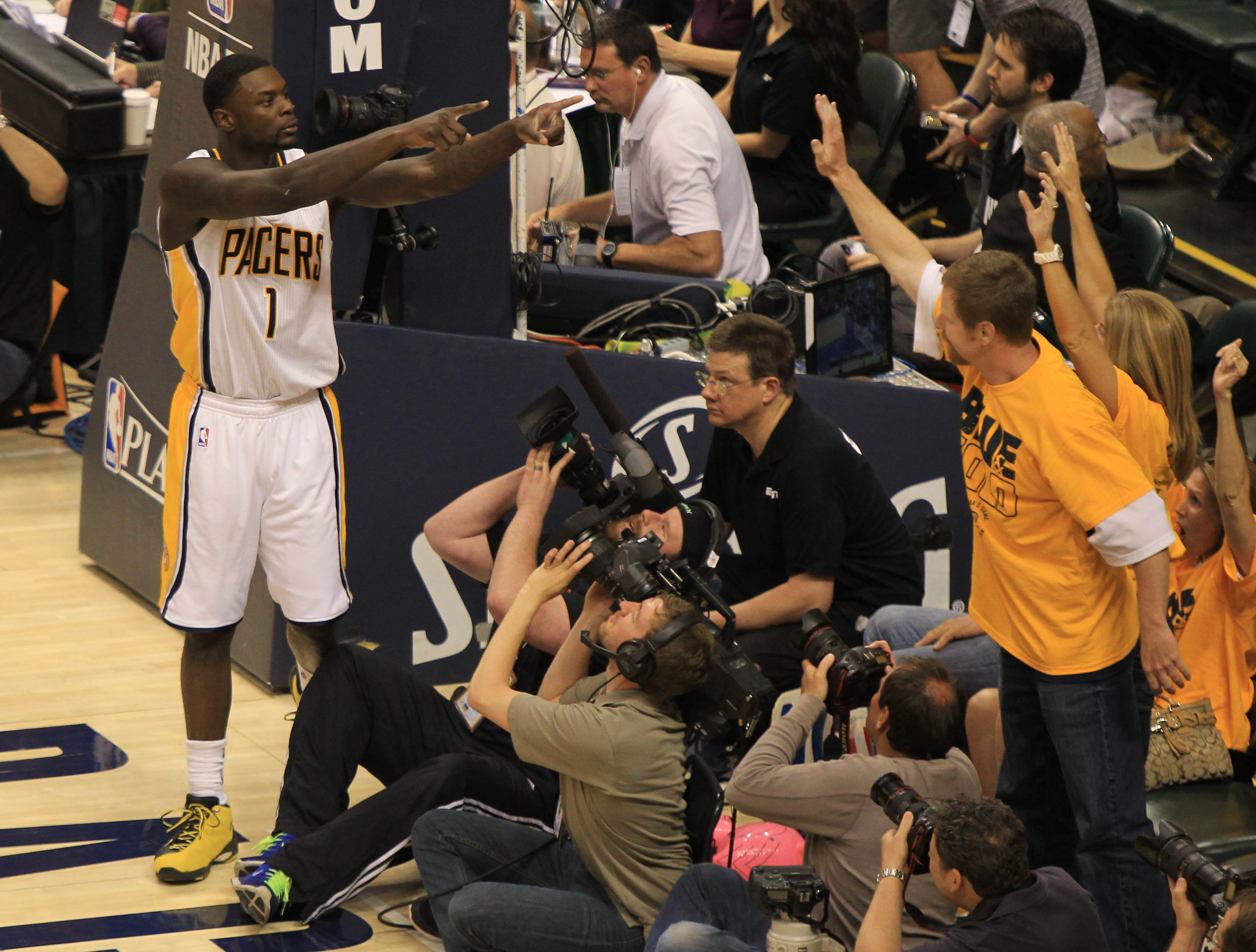 Lance Stephenson reacts in the closing seconds of Game 6. (USA Today)