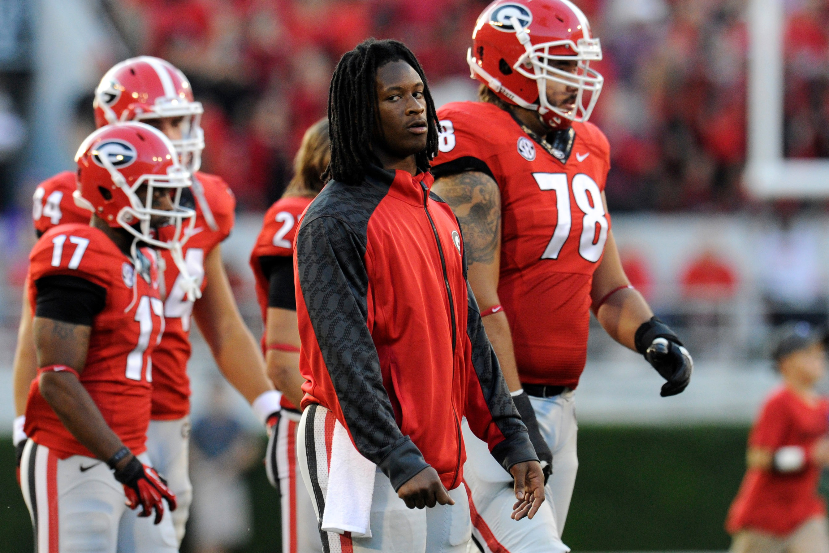 Georgia RB Todd Gurley injured his ankle in the second quarter against LSU. (USA Today)