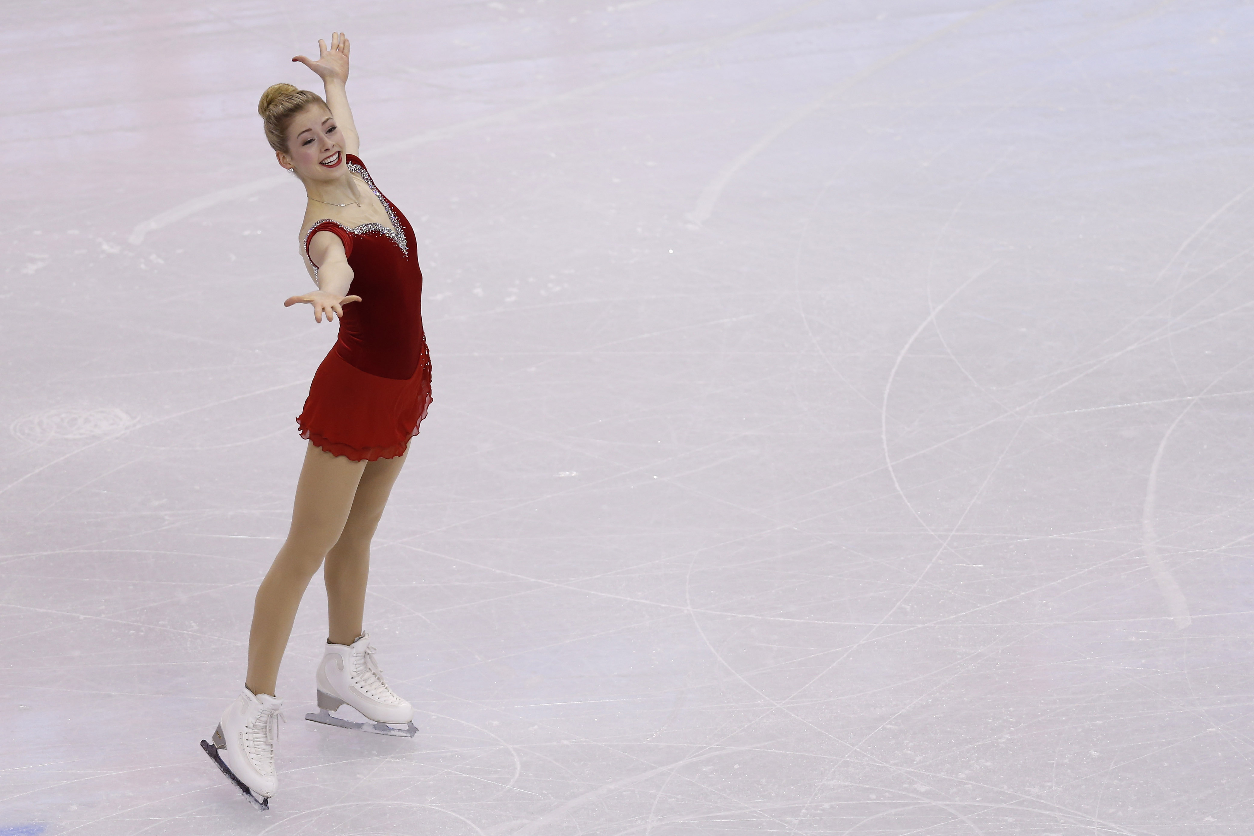 Jan 9, 2014; Boston, MA, USA; Gracie Gold performs during the ladies short program in the U.S. Figure Skating Championships at TD Garden. (Greg M. Cooper-USA TODAY Sports)