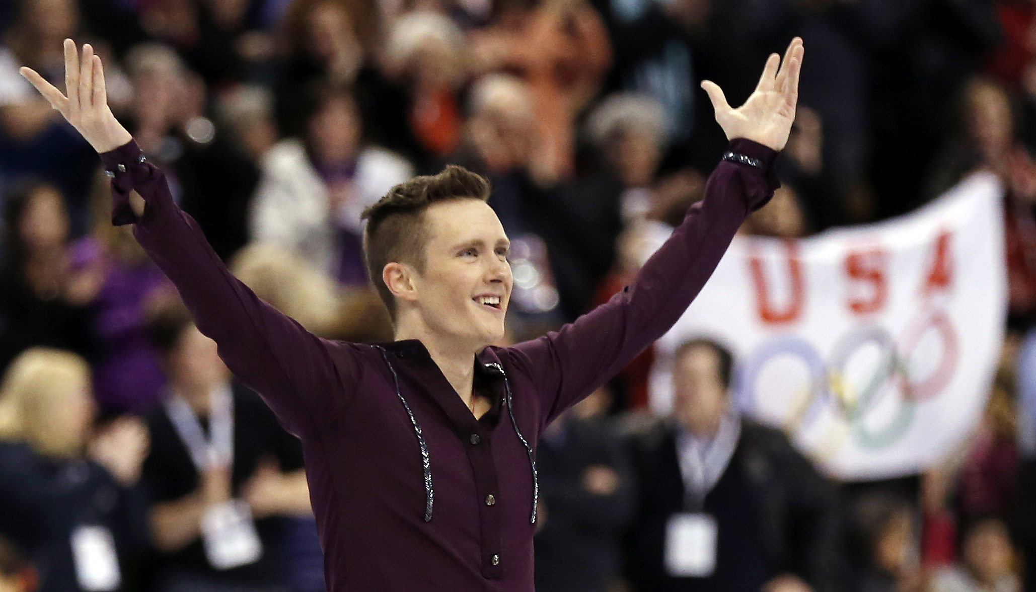 Jan 10, 2014; Boston, MA, USA; Jeremy Abbott celebrates after his performance in the men's short program in the U.S. Figure Skating Championships at TD Garden. (Winslow Townson-USA TODAY Sports)