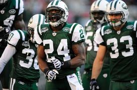 Darrelle Revis celebrates during a game. (NFP)