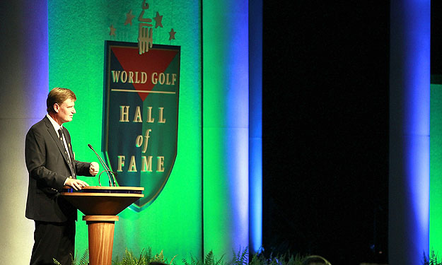 Ernie Els, shown here at his 2011 induction ceremony, was just the fourth World Golf Hall of Famer to win a major after his enshrinement.