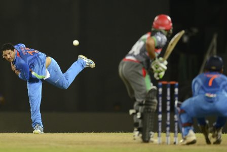 India takes on Afghanistan in a T20 Cricket World Cup match.