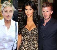 Ellen DeGeneres, Kim Kardashian, David Beckham -- Composed by AccessHollywood.com