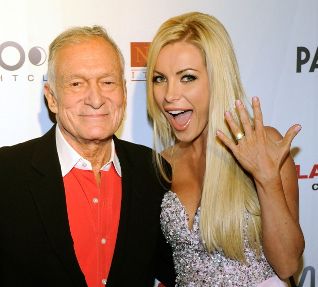 Hugh Hefner and Crystal Harris celebrate Hefner&#39;s 85th birthday at the Palms Casino Resort in Las Vegas on April 9, 2011