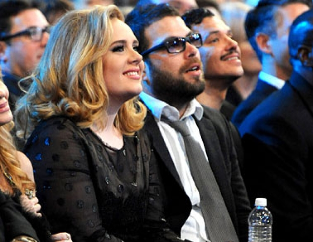 Adele and boyfriend Simon Koneck are seen in the audience at the Grammy Awards in Los Angeles on February, 13, 2012 -- WireImage