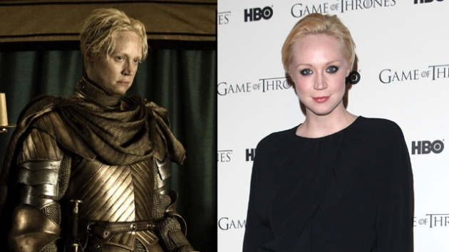 Gwendoline Christie as Brienne of Tarth in &#39;Game of Thrones&#39; Season 2 (left), and at the &#39;Game of Thrones&#39; Season 1 DVD release party in London (right) -- HBO/Getty Images