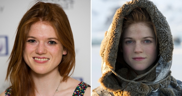 Rose Leslie in London in March 2012 (left), and as Ygritte in 'Game of Thrones' (right) -- HBO/Helen Sloan/Getty Images