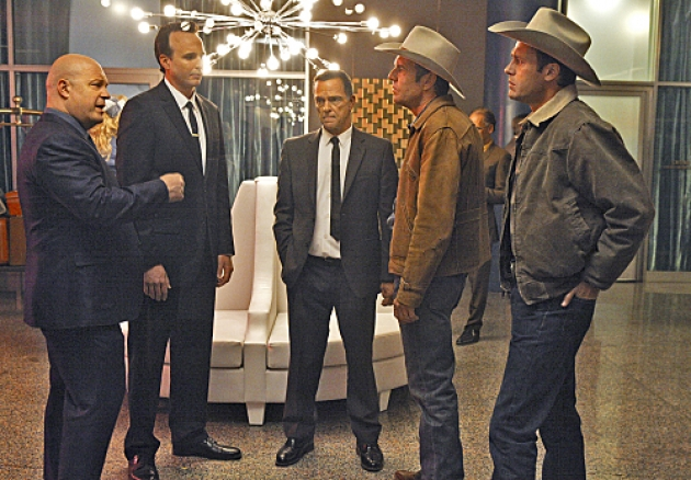 Michael Chiklis as Vincent Savino and Dennis Quaid (second from right) as Ralph Lamb in &#39;Vegas&#39; coming to CBS on Tuesdays at 10 in Fall 2012 -- CBS
