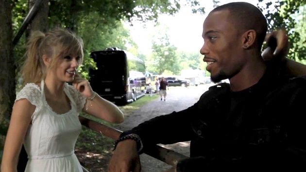 Taylor Swift and B.o.B. on the set of their music video &#39;Both Of Us&#39; -- Atlantic Records
