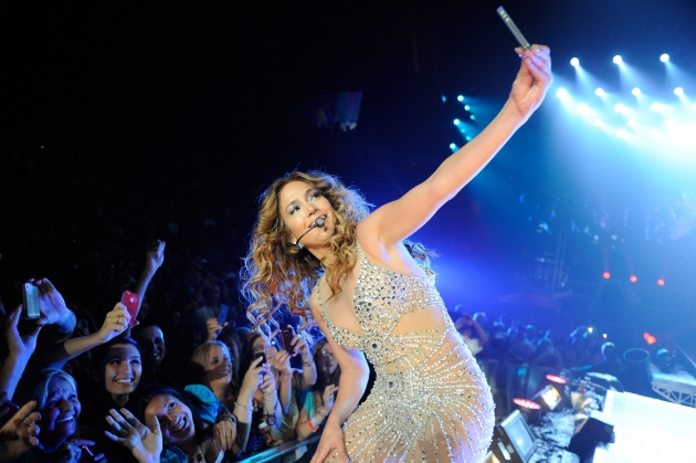 Jennifer Lopez performs during her co-headlining tour with Enrique Iglesias at Prudential Center in Newark, New Jersey on July 20, 2012  -- Getty Premium