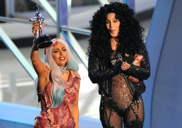 Lady Gaga accepts award from Cher on stage at the 2010 MTV Video Music Awards held at Nokia Theatre L.A. Live in Los Angeles on September 12, 2010  -- Getty Premium