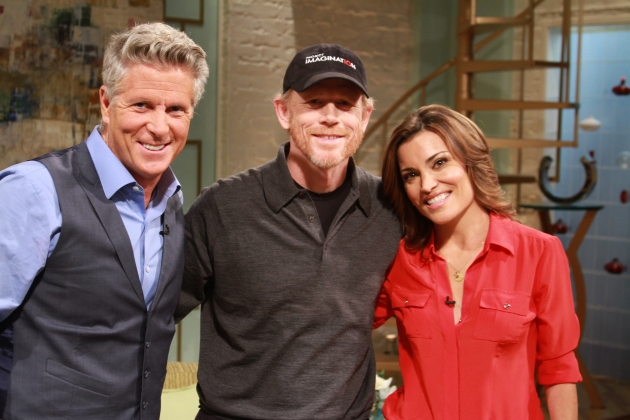 Ron Howard poses on the set of Access Hollywood Live with Kit Hoover and guest co-host Donny Deutsch on August 17, 2012 -- Access Hollywood