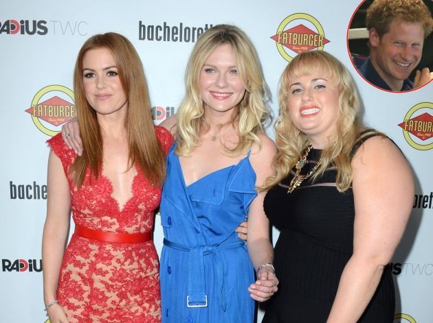 Isla Fisher, Kirsten Dunst and Rebel Wilson at the &#39;Bachelorette&#39; premiere, inset: Prince Harry -- Getty Images