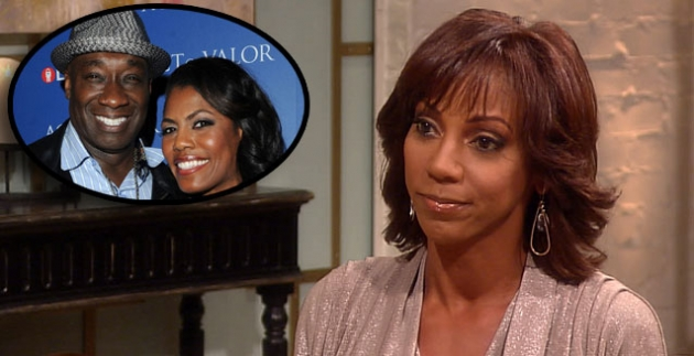 Holly Robinson Peete stops by Access Hollywood Live on September 5, 2012 / inset: Michael Clarke Duncan and Omarosa Manigault Stallworth -- Getty Images